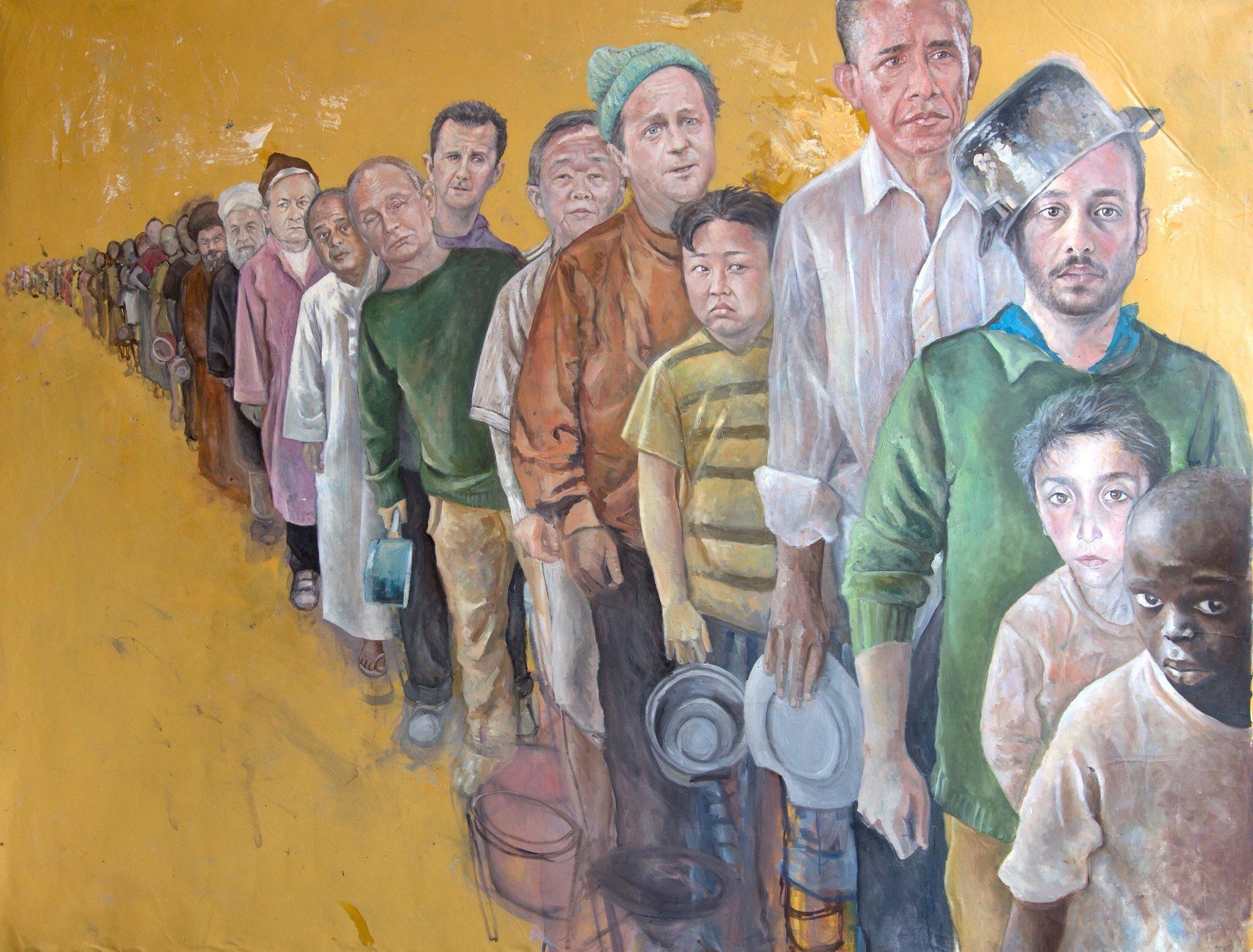 ozgur_gazete_kibris_Suriyeli_ressamdan_liderleri_multeci_olarak_cizdi4