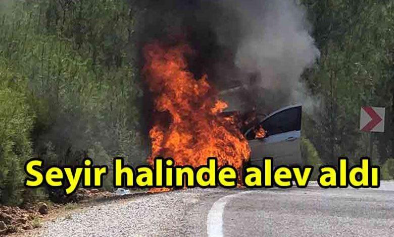 ozgur_gazete_kibris_Lefkoşa_Gazimağusa_anayolunda_araç_yangını