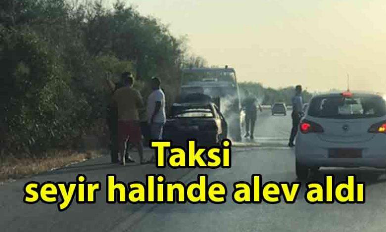 ozgur_gazete_kibris_Lefkoşa_Gazimağusa_ana_yolunda_araç_yangını