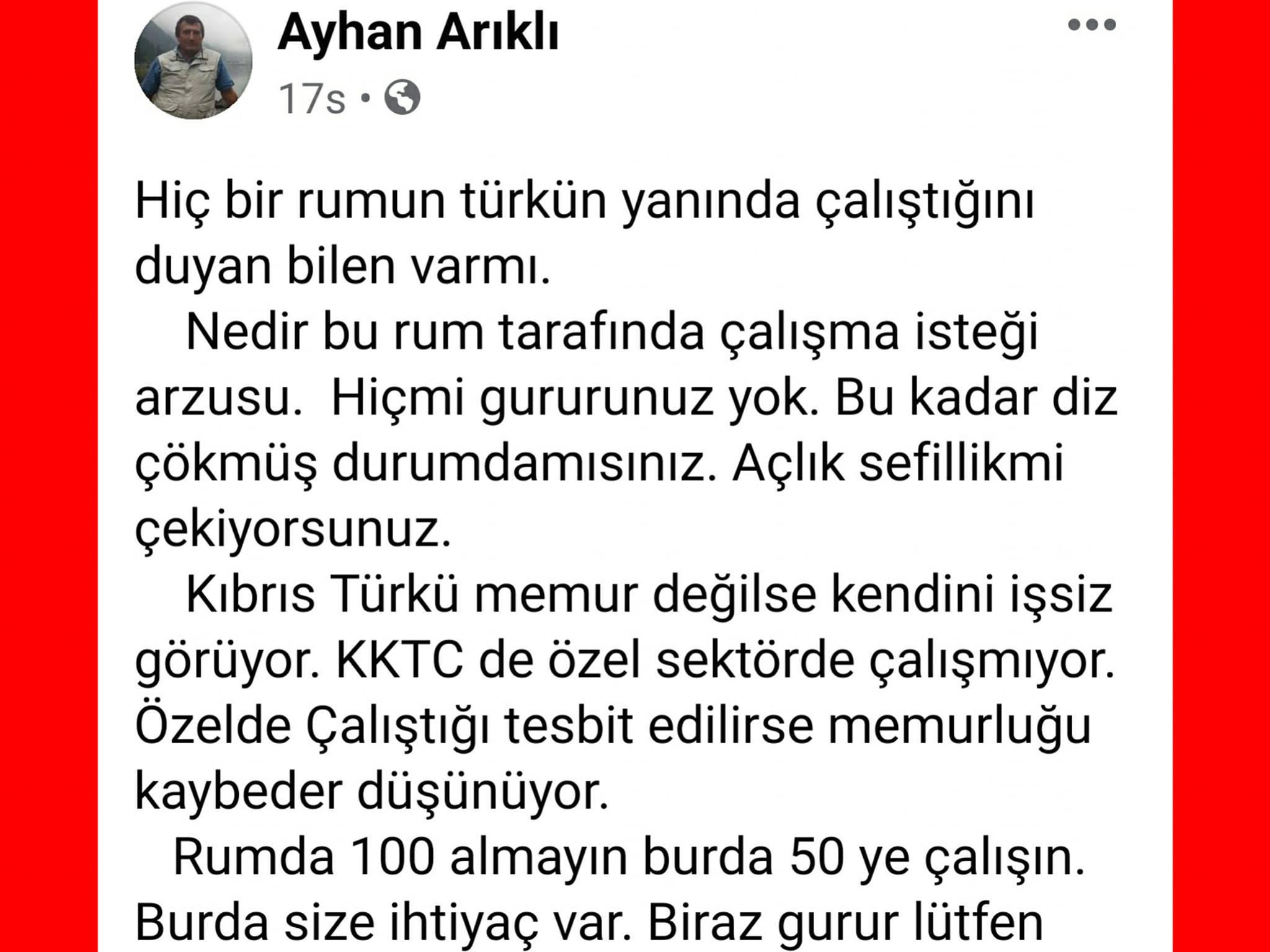 ozgur_gazete_kibris_Arikli_nin_kardesinden_guneyde_calisan_iscilere_agir_hakaret