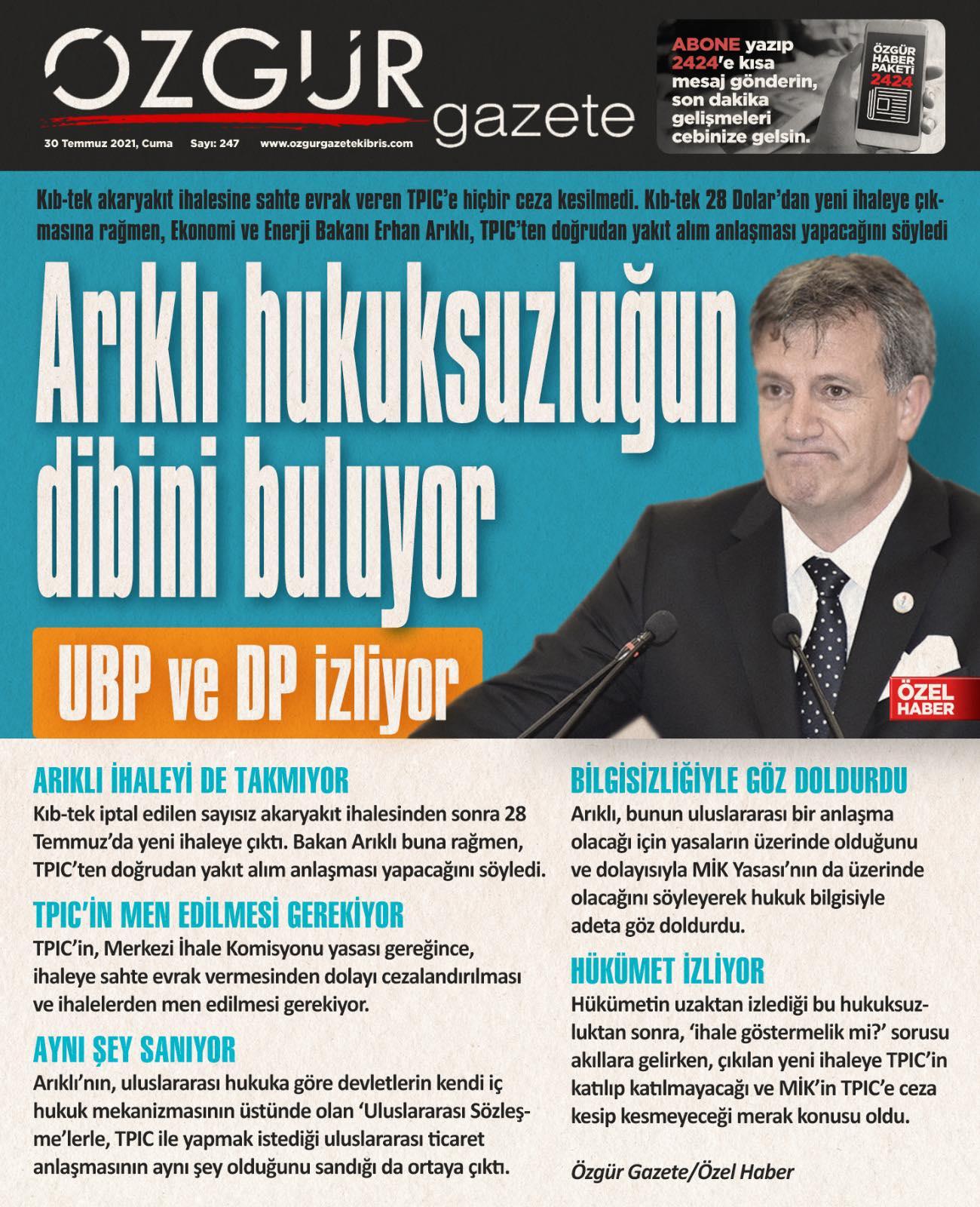 ozgur_gazete_kibris_manşet_arıklı