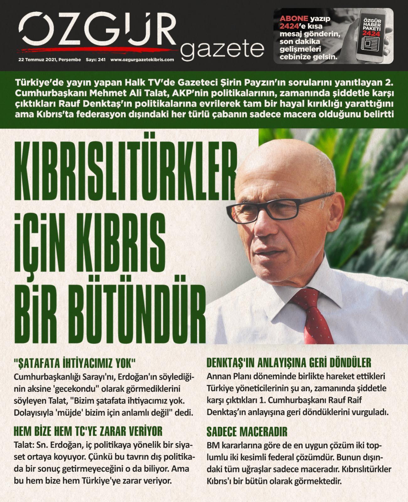 ozgur_gazete_kibris_Talat_manşet